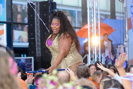 Lizzo (Melissa Jefferson) performs at Rockefeller Plaza in New York City.