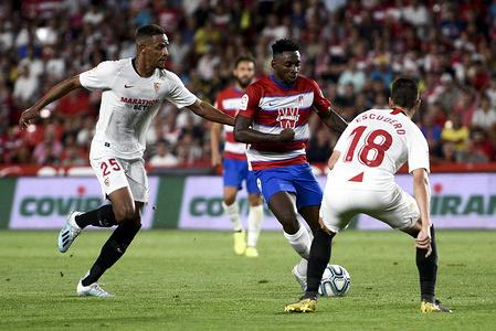 Granada CF player, Yan Eteki in action during the La Liga Santander match between Granada CF and Sevilla FC. (Final score: Granada CF 0:1 Sevilla FC)