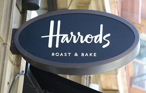 Harrods logo seen at Knightsbridge in London.