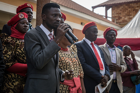 Bobi Wine speaks during a campaign event in Gombe. Bobi Wine, whose real name is Robert Kyagulanyi, a popstar and opposition leader under the 'people power' campaign, will take on Uganda's longstanding president Yoweri Museveni in the 2021 election.