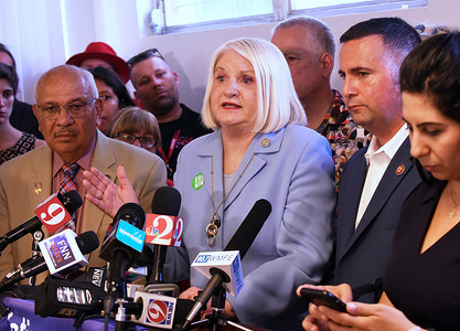 Florida State Sen. Linda Stewart, flanked by Florida State Sen. Victor Torres (left), U.S. Rep. Darren Soto (second r), and Florida Rep. Anna Eskamani (right) speaks during a press conference in opposition to the proposed establishment of a federal shelter for 500 migrant children at an Orlando Travelodge Hotel. The proposed shelter would be operated 24 hours a day by the Department of Health and Human Services.