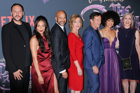 (L-R) Louis Leterrier, Hannah John-Kamen, Keegan-Michael Key, Donna Kimball, Jason Isaacs, Nathalie Emmanuel and Lisa Henson attend The Dark Crystal: Age of Resistance Premiere held at the Museum of the Moving Image in New York City.
