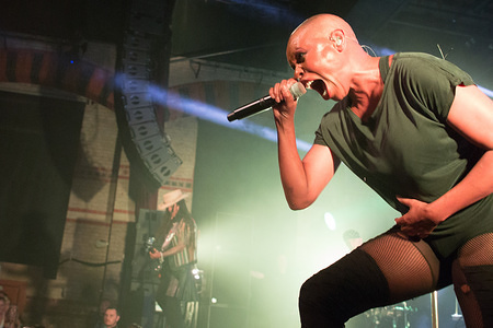 Deborah Anne Dyer, known by the stage name Skin of Skunk Anansie Rock band performs live on stage at the Cambridge Corn Exchange in UK.