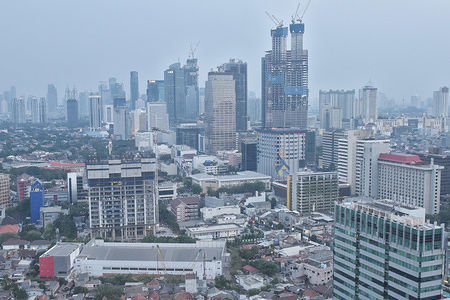 Commercial buildings, in the business district in the capital Jakarta, Indonesia. After announcing plans to move the capital from sinking Jakarta to the island of Borneo, Indonesian minister, pledges to spend $40 billion to save the slowly sinking Jakarta in the next decade.