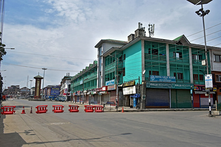 A view of main shopping hub during strict restrictions in Srinagar, Kashmir. Authorities on Friday imposed strict restrictions in parts of Kashmir valley ahead of the Friday prayers to maintain law and order.