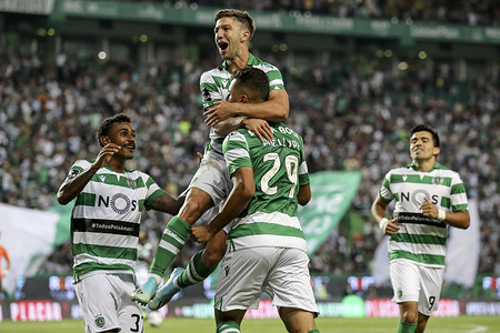Luiz Phellype of Sporting CP celebrates his goal with the team during the League NOS 2019/20 football match between Sporting CP vs Rio Ave FC. (Final score: Sporting CP 2 - 3 Rio Ave FC)