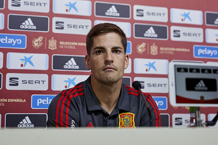 Robert Moreno during a press conference on the next matches against Romania and Feroe Islands and he also talked about the general state of the team, such as reaching the maximum possible score for the classification, at Ciudad del Futbol in Las Rozas, Spain.