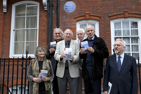 From left to right Author Victoria Glendinning, Journalist and documentary filmmaker John Pilger, Sandy Mathews, World affairs editor of BBC News John Simpson, Publisher John Hatt and Alan Hollinghurst from English Heritage attend the Martha Gellhorn blue plaque unveiling in London. Martha Gellhorn (1908-1998), American novelist, war correspondent and writer was commemorated with an English Heritage blue plaque. The Blue plaque was placed on a building located in Cadogan Square in London where she lived the last 28 years.