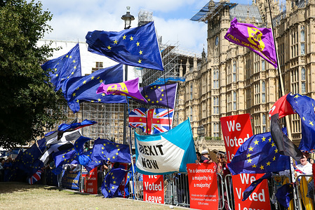EU and Union Jack flags in central London on the day MPs return back to Parliament after the summer recess. On Monday 2 Sept 2019 British Prime Minister Boris Johnson warned Conservative MPs not to vote against the government in the next night's Bill that would block a no deal Brexit. Several MPs vowed to vote with the opposition regardless of the personal consequences.