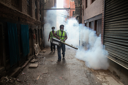 A member of Korean Disinfection Crupee Team fumigates the area to kill mosquitoes causing Dengue in urban areas of Kathmandu. According to the Epidemiology and Disease Control Decision (EDCD), numbers of people suffering from Dengue reached 2559 all over Nepal and at least 60 patient suffering from Dengue virus have been confirmed in Kathmandu valley.