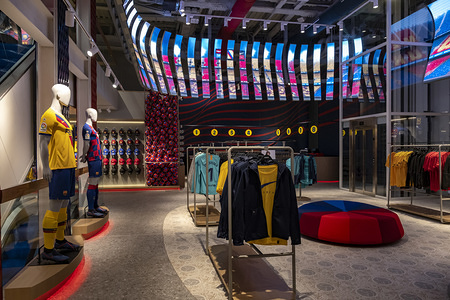 General view of the interior of the FC Barcelona store with the panoramic screen. The FC Barcelona football club opens a new store in the heart of the Ramblas of Barcelona. Located at number 124, it has 1,900m2 and is the fifth store managed 100% by the FC Barcelona. Interior design has been done by designer and design theorist Juli Capella.