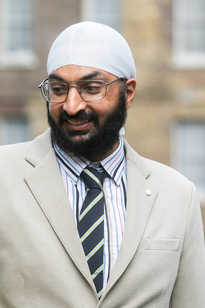 Former England cricketer and left arm spinner Mudhsuden Singh Panesar known as Monty Panesar seen leaving from College Green Westminster in London.