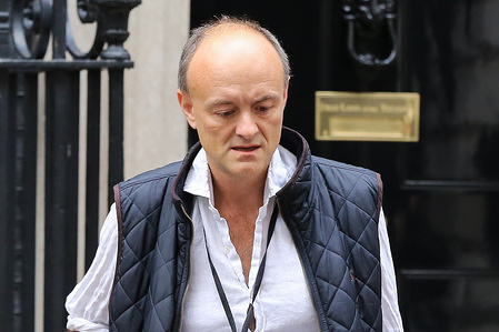 Special Advisor to the British Prime Minister, Dominic Cummings comes out of 10 Downing Street in London.