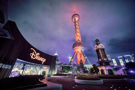 A view towards Oriental Pearl Tower from Disney China Flagship store in Shanghai.