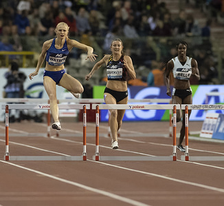 Sage Watson (L) in action during the IAAF Diamond League Athletics at the King Baudouin Stadium in Brussels.
