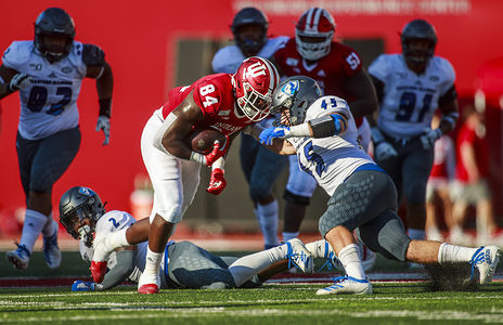 Indiana University's Asher King (84) in action against the Eastern Illinois' Joe Caputo (45) during an NCAA football game at the Memorial Stadium in Bloomington. (Final scores; Indiana University 52:0 Eastern Illinois)