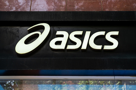 Japanese multinational sportswear corporation Asics logo seen in Shanghai.