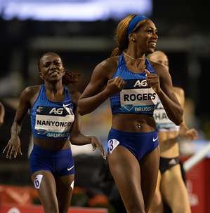 Winnie Nanyondo (UGA) and Raevyn Rogers (USA) in action during the IAAF Diamond League at King Baudouin Stadium, Brussels.