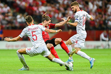 Jan Bednarek from Poland (L) Marcel Sabitzer from Austria (C) and Mateusz Klich from Poland (R) are seen in action during the Euro 2020 Qualifiers (Group G) match between Poland and Austria. (Final score; Poland 0:0 Austria)