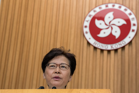 Carrie Lam, Hong Kong's Chief Executive, addresses a press regarding the recent protest activity and fields various questions from reporters. Carrie Lam held a press conference to discuss her plan on quelling the anti-extradition protests that have continued since the beginning of summer. She criticised recent acts of violence and emphasised the need to ensure the safety of Hong Kong's infrastructure.