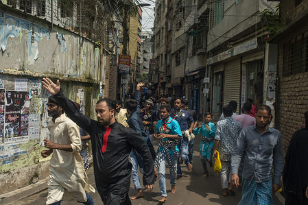 Shia Muslims march during the Ashura day in Dhaka. Ashura is the tenth day of Muharram, the first month of the Islamic calendar, observed around the world in remembrance of the martyrdom of Imam Hussain, the grandson of Prophet Muhammad.