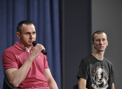 Film director, Oleg Sentsov (L) and  Crimean activist, Oleksandr Kolchenko (R), former prisoners during a press conference in Kiev. The exchange of prisoners between Ukraine and Russia took place on 07 September 2019.