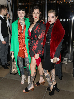 Grace Neutral, El Wood and Emily Malice attending Munroe Bergdorf's Birthday Party at Berners Tavern in London