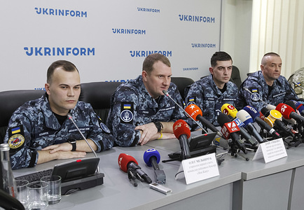 Recently released Ukrainian sailors, Oleg Melnichuk, Denys Hrytsenko, Andriy Artemenko and Andriy Oprysko (L-R) speak during a press conference in Kiev, Ukraine.  35 Ukrainian political prisoners including 24 Ukrainian sailors were freed during the Russia-Ukraine prisoner swap 35x35. The swap list includes 24 sailors captured by Russia in the Kerch Strait, and 11 more convicts, including Ukrainian film director Oleh Sentsov, as local media reported. The swap of prisoners between Ukraine and Russia took place on 07 September 2019.