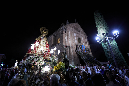 The image of Virgin Mary (Nuestra Senora de los Santos) during her traditional procession with Saint Simon of Rojas. The procession has been celebrated in the city since the 16th century and is a tourist attraction in the region.
