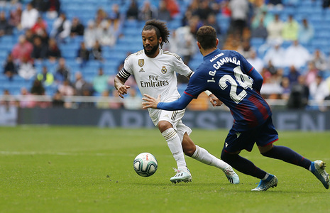 Real Madrid CF's Marcelo Vieira seen in action during the Spanish La Liga match round 4 between Real Madrid and UD Levante at Santiago Bernabeu Stadium in Madrid. (Final score; Real Madrid 3:2 UD Levante)