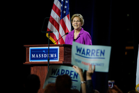 Presidential Candidate Elizabeth Warren speaks at the Massachusetts Democratic Party Convention in Springfield.