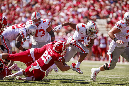 Ohio State's J.K. Dobbins (2) carries the ball against Indiana University during an NCAA football game at IU's Memorial Stadium. (Finale score: Ohio state 50 - 10 Indiana University )
