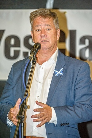 Keith Brown speaks during the celebrations during a pro Scottish independence event. Yes Clackmannanshire hosted a march through the town of Alloa in support of Scottish independence and to mark the 5th anniversary of the 2014 Scottish Independence Referendum as Clackmannanshire was one of the early-birds to announce their vote.