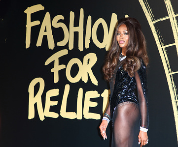 Naomi Campbell attends Fashion For Relief at the British Museum in London.