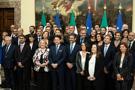 Prime Minister Giuseppe Conte with the State Undersecretaries at the end of the Swearing in ceremony in Rome.