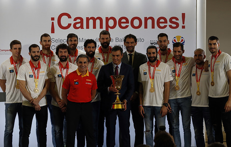 Spain's Prime Minister Pedro Sanchez, receives the Spanish Basketball National team following their victory in the 2019 FIBA Basketball World Cup in China, at Zarzuela Palace.