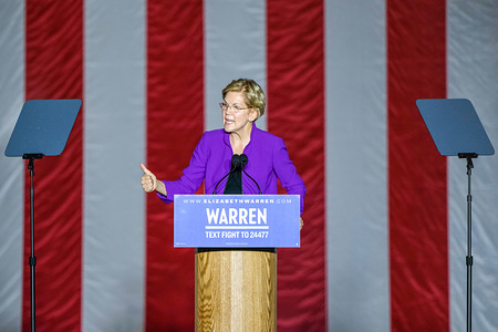 Presidential Candidate Elizabeth Warren speaks during a rally at Washington Square Park in New York City.