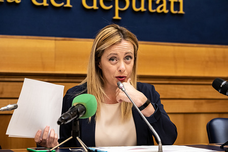 Giorgia Meloni, leader of Brothers of Italy (political party) speaks during the press conference at Palazzo Chigi in Rome.