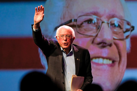 Presidential Candidate Bernie Sanders speaks during the AFL-CIO's first-ever Presidential Summit in Philadelphia.