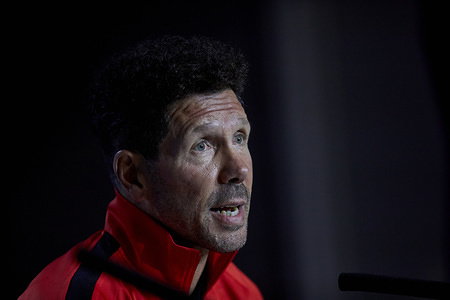 Diego Pablo Simeone attends the Press Conference before the UEFA Champions League match between Atletico de Madrid and Juventus at Wanda Metropolitano Stadium in Madrid.