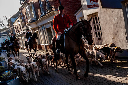 The North Herefordshire Hunt rides in to Leominster along School Lane as hundreds of people gather in Corn Square to watch the traditional gathering of the 99 year old North Herefordshire Hunt on Boxing Day.