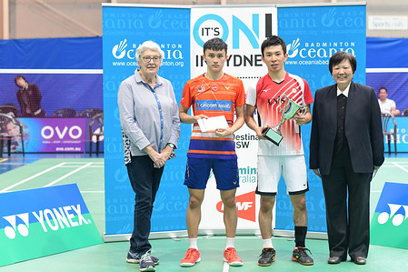 Yusuke Onodera (Japan) seen during the Men's Single medal awarding ceremony of the 2019 Sydney International, Onodera won the Finals match against Lim Chong King (Malaysia) 21-8, 21-15.  Left to right: Australian Olympic Committee President Helen Brownlee, Lim Chong King, Yusuke Onodera, Badminton NSW President Carolyn Toh.