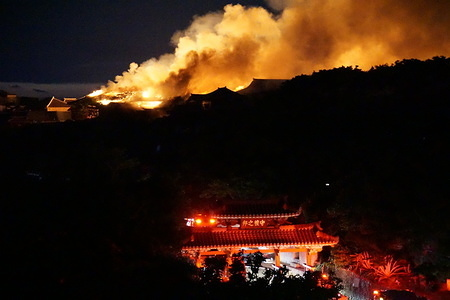 Flames and smoke seen coming from the Shurijo castle, a UNESCO World Heritage site in Okinawa. Fire broke out around midnight and burned down the main hall of the castle.