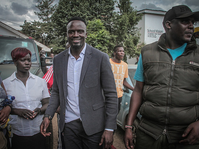 Jubilee flag bearer in the Kibera by-election for the Parliamentary seat, McDonald Mariga at a polling station during the elections of Kibera Member of Parliament.Kibera by-election has been held following the death of former Member of Parliament, Mr Ken Okoth.