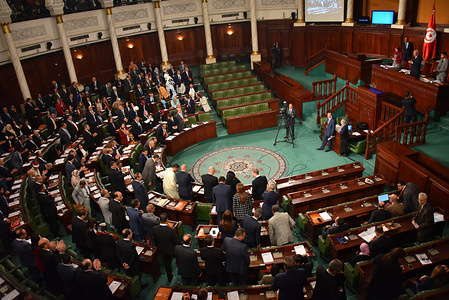 Deputies attend the first session and oath-taking ceremony of the Tunisian parliament after Tunisia's Supreme Election Council announced results of the parliamentary elections.