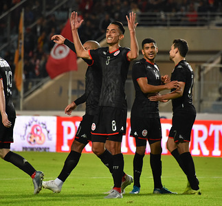 Tunisia's midfielder Saif-Eddine Khaoui (2nd-R) celebrates his goal during the 2021 Africa Cup of Nations group J qualifying football match between Tunisia and Libya at the Stade Olympique de Rades. (Final score; Tunisia 4:1 Libya)
