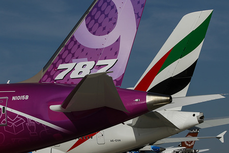 Boeing 787-9 aircraft on a static during the opening day of Dubai International Airshow.