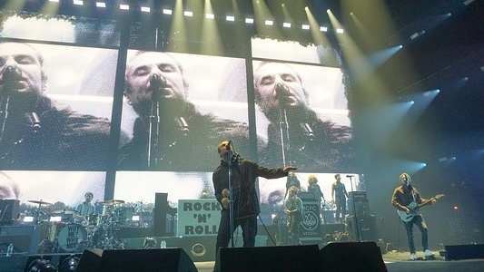 Liam Gallagher performs live on stage at FlyDSA Arena in Sheffield.