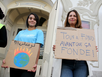 Protesters hold placards during the demonstration. Youth for climate Tunisia organised climate strikes in Tunis. Recently, Tunisia has been afflicted with devastating floods and yet their government has no plan to lead the country towards a carbon neutral future. The youth are fighting to change this!