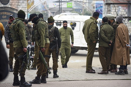 SRINAGAR, INDIA, NOVEMBER 26, 2019:  Indian policemen stand guard close to the site of the blast. At least three people were wounded in a low-intensity blast which took place at Hazratbal locality in Srinagar city, the summer capital of Indian-administered Kashmir, Police said.